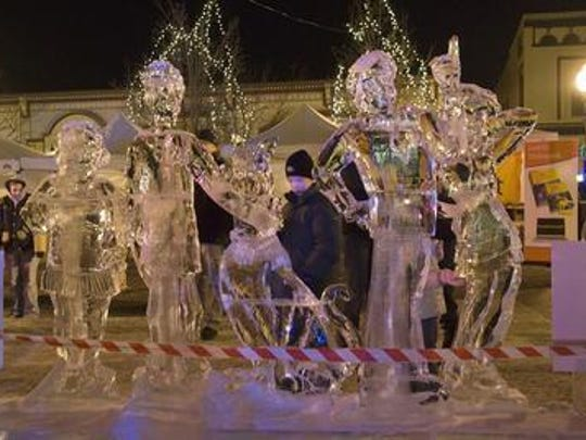 Ice sculptures are typically on view around the clock