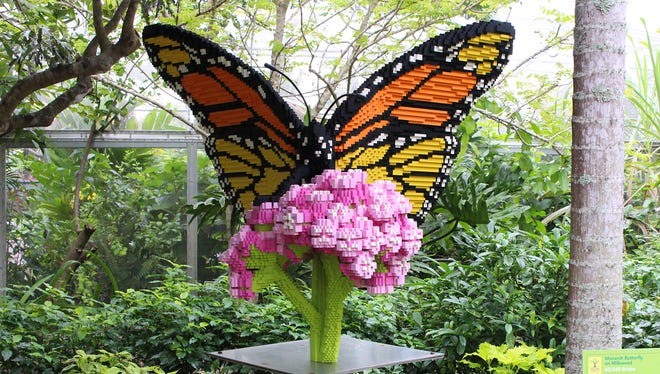 This Monarch butterfly sculpture was made from 60,549 Lego pieces.