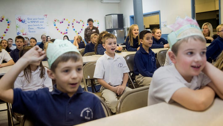 Students at Immaculate Conception School in New Oxford