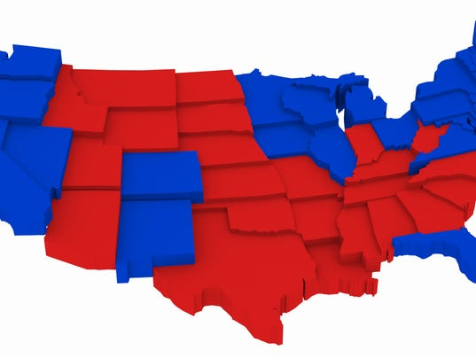 USA Map by State Presidential Elections 2012. 3D Rendering Illustration