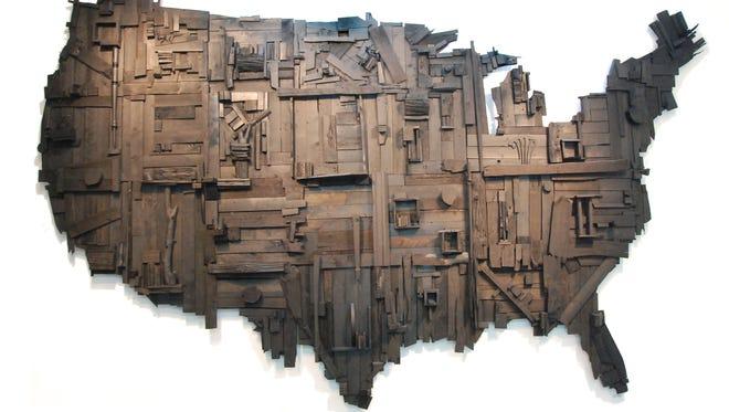"""Wesley Clark, """"My Big Black America,"""" reclaimed wood, 2015."""