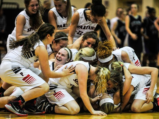 Pleasant girls basketball celebration