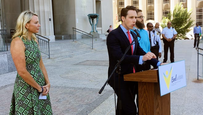 Missouri Attorney General Josh Hawley speaks at a news conference on June 21, 2017, in St. Louis.