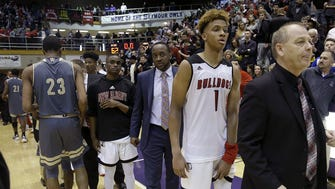 New Albany Bulldogs Romeo Langford (1) following  their IHSAA Boys 4A Semi-State basketball game at the Lloyd E.Scott Gym in Seymour IN.,  on Saturday, March 16, 2018.