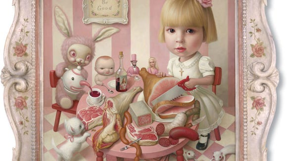 """Mark Ryden, """"Rosie's Tea Party,"""" 2005, oil on canvas, 51 x 51 inches, private collection."""