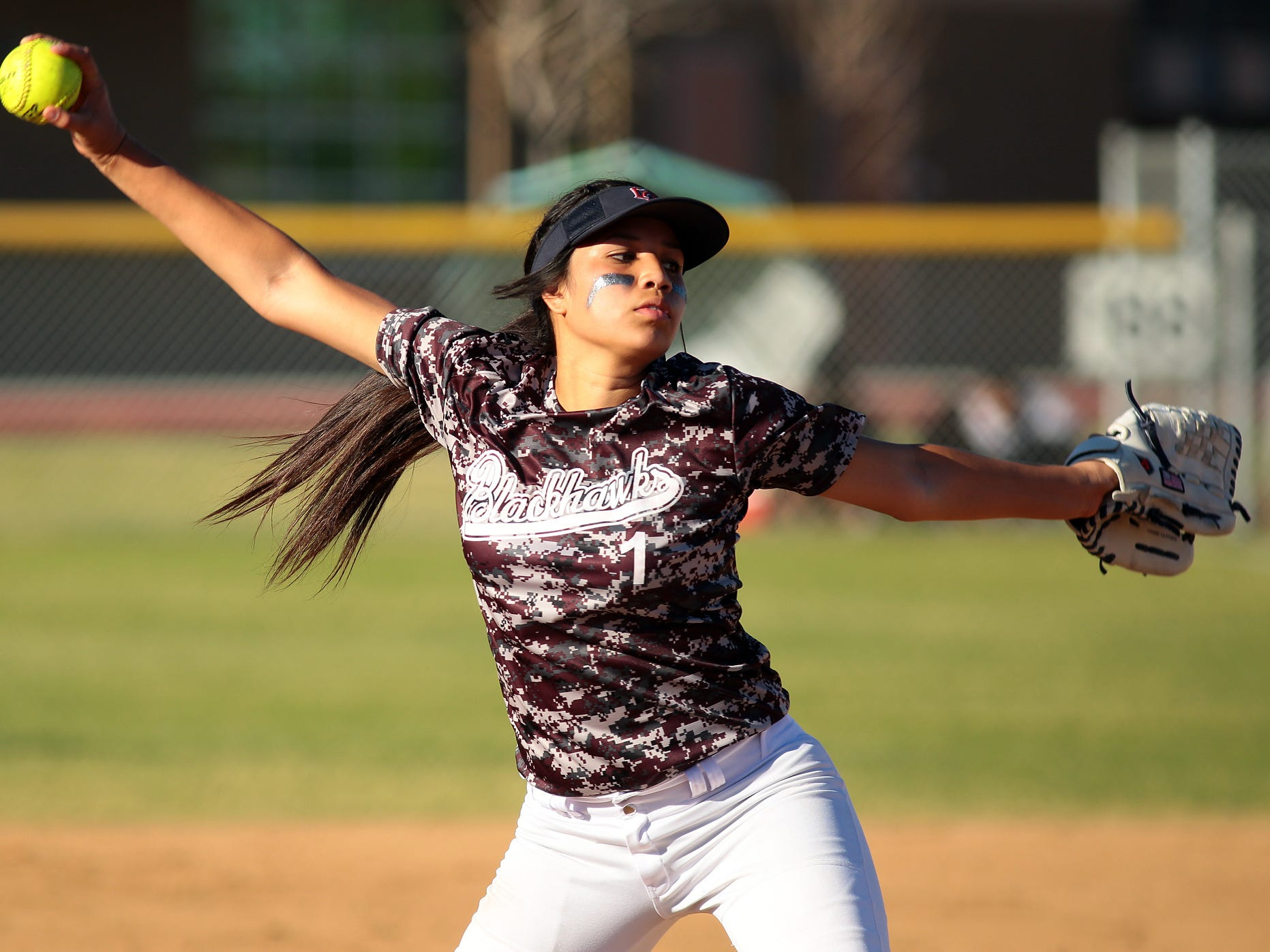 La Quinta pitcher Star Padilla throws to a Shadow Hills batter on Thursday afternoon, March 26, 2015 during the first game of a double header between the Blackhawks and Knights. La Quinta won the afternoon game 7-5 and followed it with a 4-1 victory.