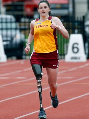 Sammie gehl lost leg to cancer but keeps running for st john fisher sammie gehl runs the 200m dash with a prosthetic leg sciox Image collections