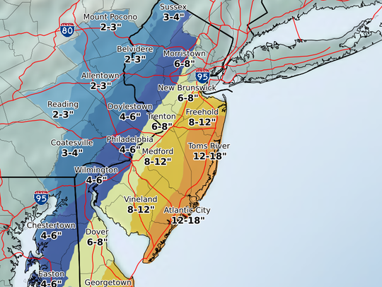 As much as 18 inches of snow is now expected over parts