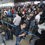 Airport security line.