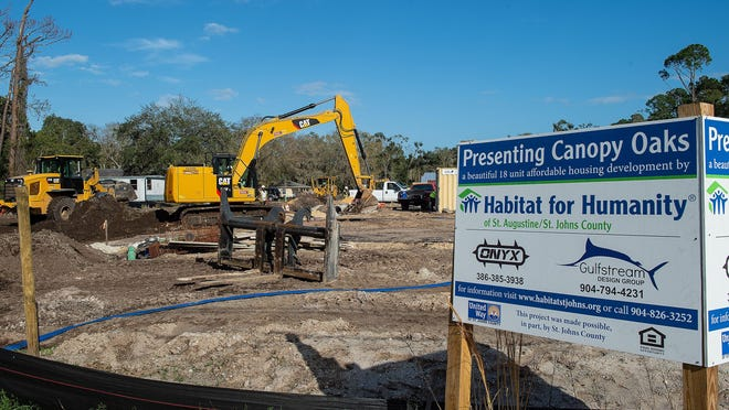 In this file photo, workers use heavy equipment on the site of the Canopy Oaks 18-home affordable housing development being built by Habitat for Humanity St. Augustine/St. Johns County in West Augustine.