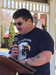 Jerry Wienke speaks during a groundbreaking ceremony held Saturday for a new veterans memorial in the village of Spencer.