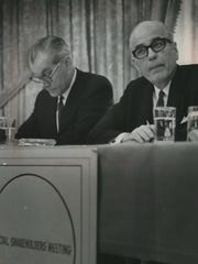 William H. Davidson (right), president of Harley-Davidson Co., and Otto P. Resech, company secretary, face shareholders at a special meeting on Dec. 18, 1968. Shareholders approved a deal to sell Harley-Davidson to the conglomerate AMF, to fend off a takeover bid from Bangor Punta Corp. Harley-Davidson was nearly wrecked during AMF's stewardship.