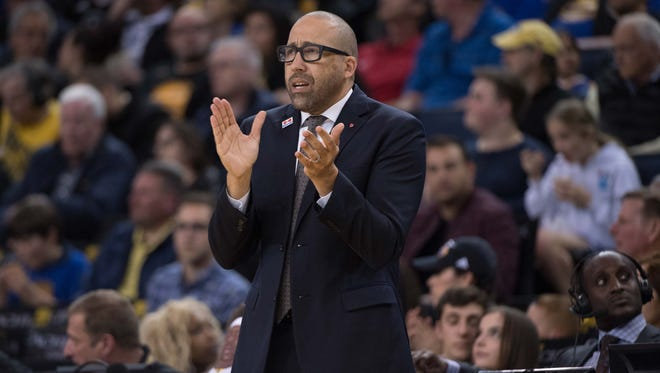 Memphis Grizzlies head coach David Fizdale during the third quarter against the Golden State Warriors at Oracle Arena. The Warriors defeated the Grizzlies 106-94.
