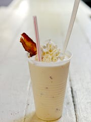 The bacon milkshake from Scoops Ice Cream & Grille