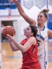 Bucyrus' Isidora Burling looks to shoot through Wynford's