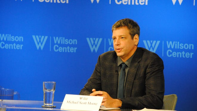 Michael Scott Moore talks June 24, 2015, at the Wilson Center about his time as a hostage of Somali pirates.