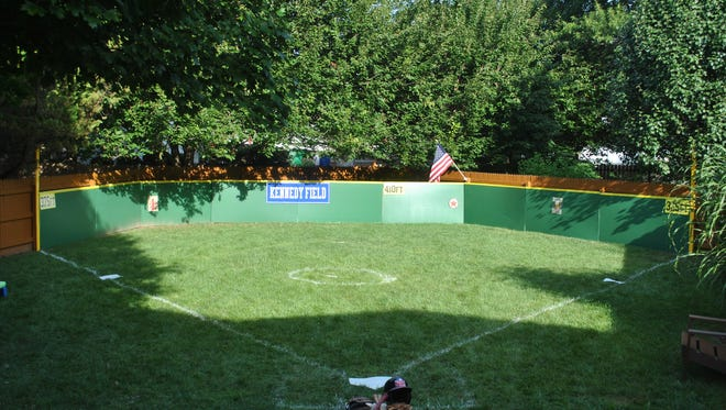 Baseball field built in a yard by the Kennedy family to celebrate the first birthday of Luke Kennedy.