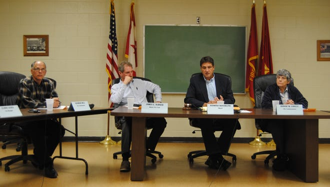 Marine City commissioners during their regular meeting Oct. 1.