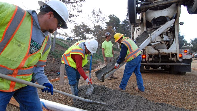 On Tuesday morning, a crew from San Benito Supply began the first pour of concrete for the Acosta Plaza Recreation Area in Salinas.