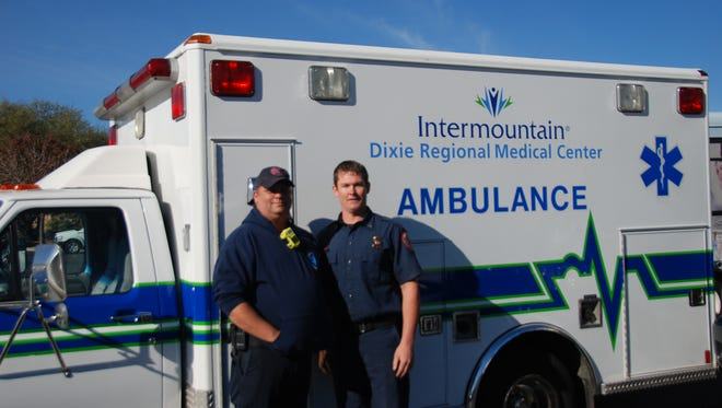 Tyrel Hansen, battalion chief, and Russ Leavitt, paramedic, arrived at Dixie Regional Medical Center to receive the ambulance on behalf of the Santa Clara Fire Department.