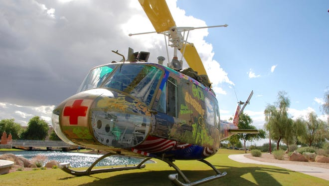 Contemporary artist Steve Maloney returns to the non-profit Palm Springs Air Museum for an exhibition of his latest sculptural installation, Take Me Home Huey.