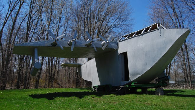 """A replica of the """"Spruce Goose"""" is one of the retired floats from the Adair Suckerfest Parade. The parade is at noon Sunday,"""