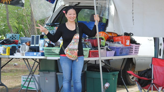 Nancy Palomo, an entrepreneur who just can't sit still, is at the Dededo Flea Market every weekend selling an array of electronics, DVDs and her huge stock of AC adapters and variety of connecting and power cords.