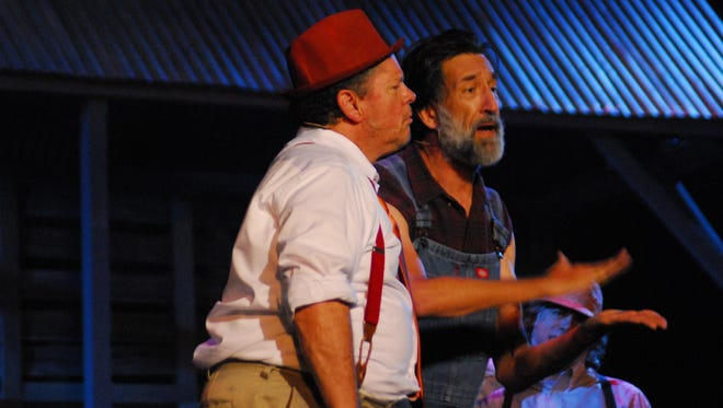 """Wayne Gonsoulin as """"Boudreaux"""" and Shane Guilbeaux as """"Binny"""" perform a scene in the first theatrical production of Jambalaya the Musical on September 8, 2016 in Lafayette, LA."""