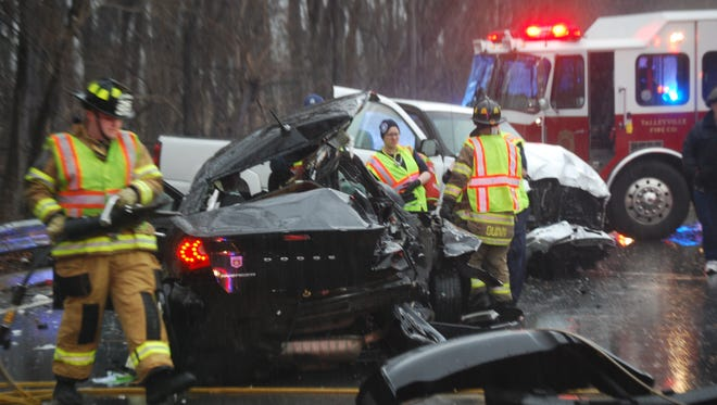 The serious crash closed Del. 141 Monday afternoon.