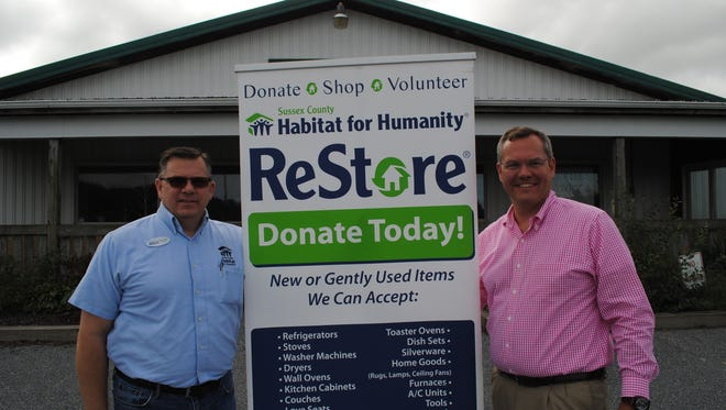 Lewes ReStore Manager Mark Quigley and Sussex County Habitat Executive Director Kevin Gilmore outside the new ReStore on Route 9 in Lewes.
