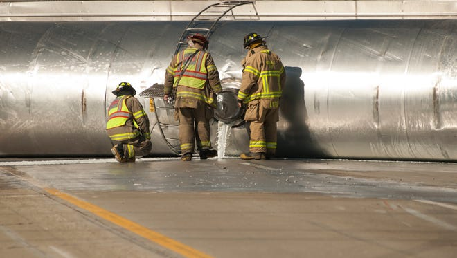 Milk continues to spill onto westbound Interstate 94 Monday morning.