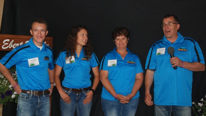 Jordan, Whitney, Renee and Randy Ebert, who are hosting Farm Technology Days July 11-13 on their Algoma-area farm, welcomed members of the press to Media Day last week.