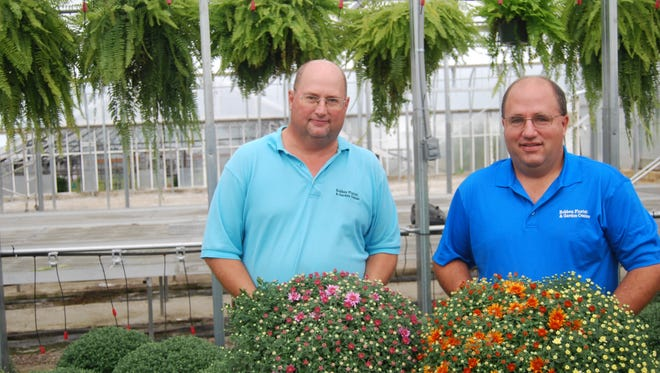 Ron Robben, left, and Larry Robben stand Sept. 19, 2017, in one of the renovated greenhouses at Robben Florist and Garden Center. Nearly $100,000 in improvements has been made at the site.