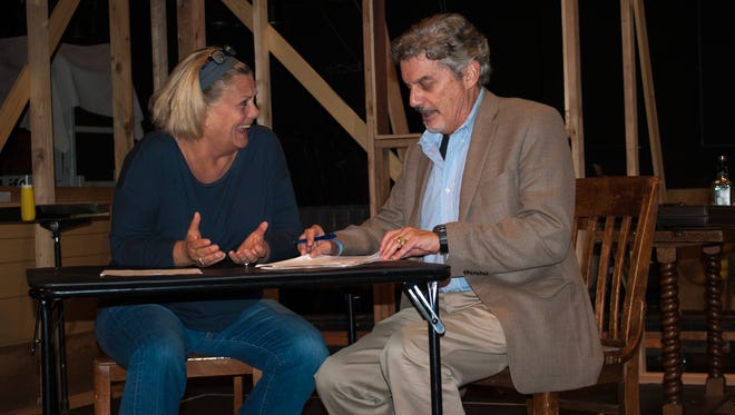 "Maude (played by Kim Zimmer), an unemployed bartender, crosses paths with Lionel (Carl Wallnau), an esteemed art expert, in ""Bakersfield Mist.""  Stephen Sachs' comedy about art and authenticity will be staged at the Bickford Theatre at the Morris Museum through October 29."