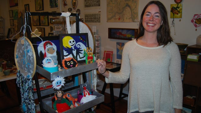 Amanda Carlisle, shown Oct. 24, 2017, is co-owner of Wooden Hill, an art store which opened in Westwood in September.