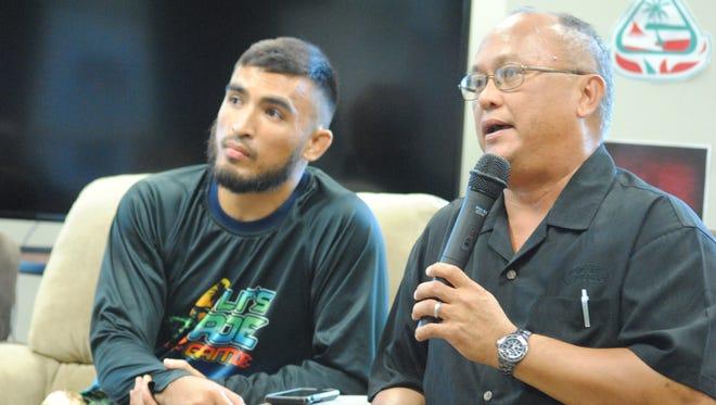 Joey Crisostomo Jr., left and Joey Crisostomo speak at a forum on responsible off-roading held Feb. 15 at the University of Guam.