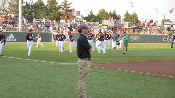 Brandon Hardin stands on Dudy Noble Field.