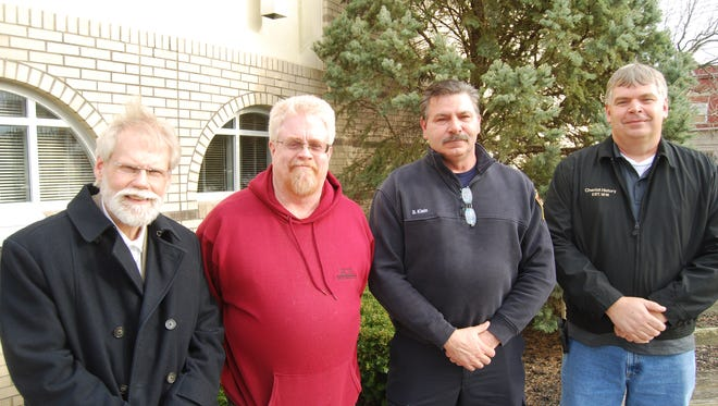 Gregory Kissel, left, Mike Murray, Chief Robert Klein and Rich Martin are involved in helping to restart the Cheviot Historical Society. Interest in reforming the historical society was spurred by the Cheviot's bicentennial this year. March 7, 2018