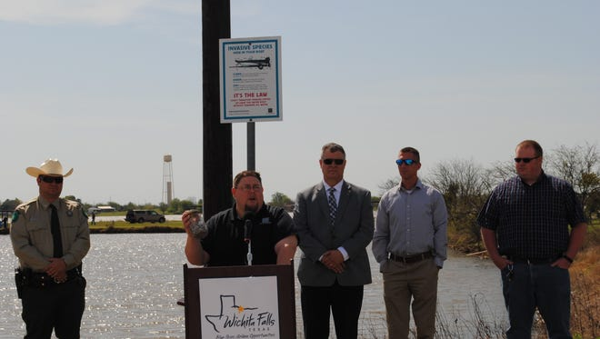 Tom Lang, TPWD fish biologist talks Thursday about the dangers of zebra mussels. Local lakes do not have zebra mussels, but an infestation was found recently in Lake Waurika.