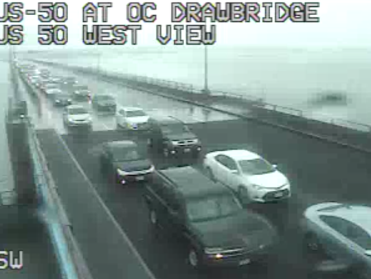 Flooding in Ocean City is causing traffic to backup