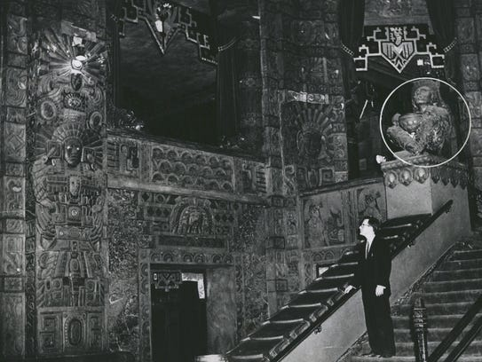 The Fisher Theatre originally had a Mayan temple theme,