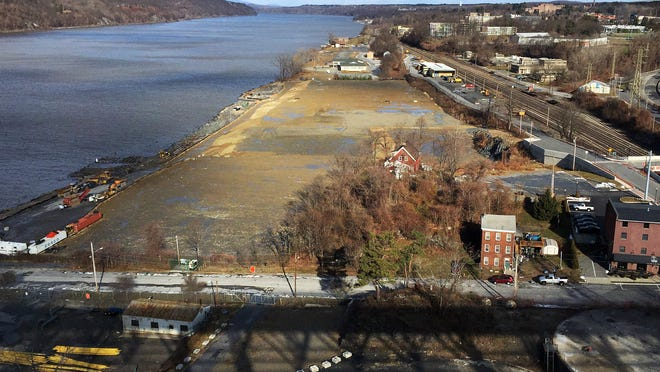 The former Dutton Lumber site, center, is just north of Dutchess Avenue along the Poughkeepsie waterfront.