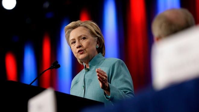 Hillary Clinton, the presumptive Democratic presidential nominee, speaks to a crowd during the 84th annual United States Conference of Mayors at the J.W. Marriott Indianapolis on June 26, 2016.
