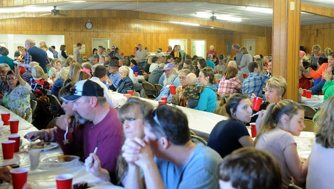 Hundreds or people filled the Knights of Columbus Hall Sunday, Feb. 5, 2017, for the 37th annual Knights of Columbus Council 1715 German Sausage Meal in Scotland, Texas.
