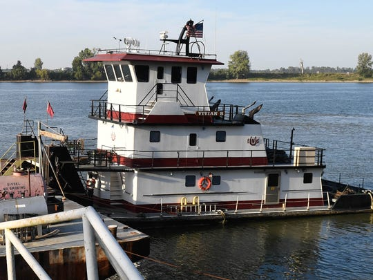 The Evansville Marine Services towboat, Vivian B. that pickup up the man that jumped from the northbound twin bridge Wednesday afternoon, September 21, 2016.
