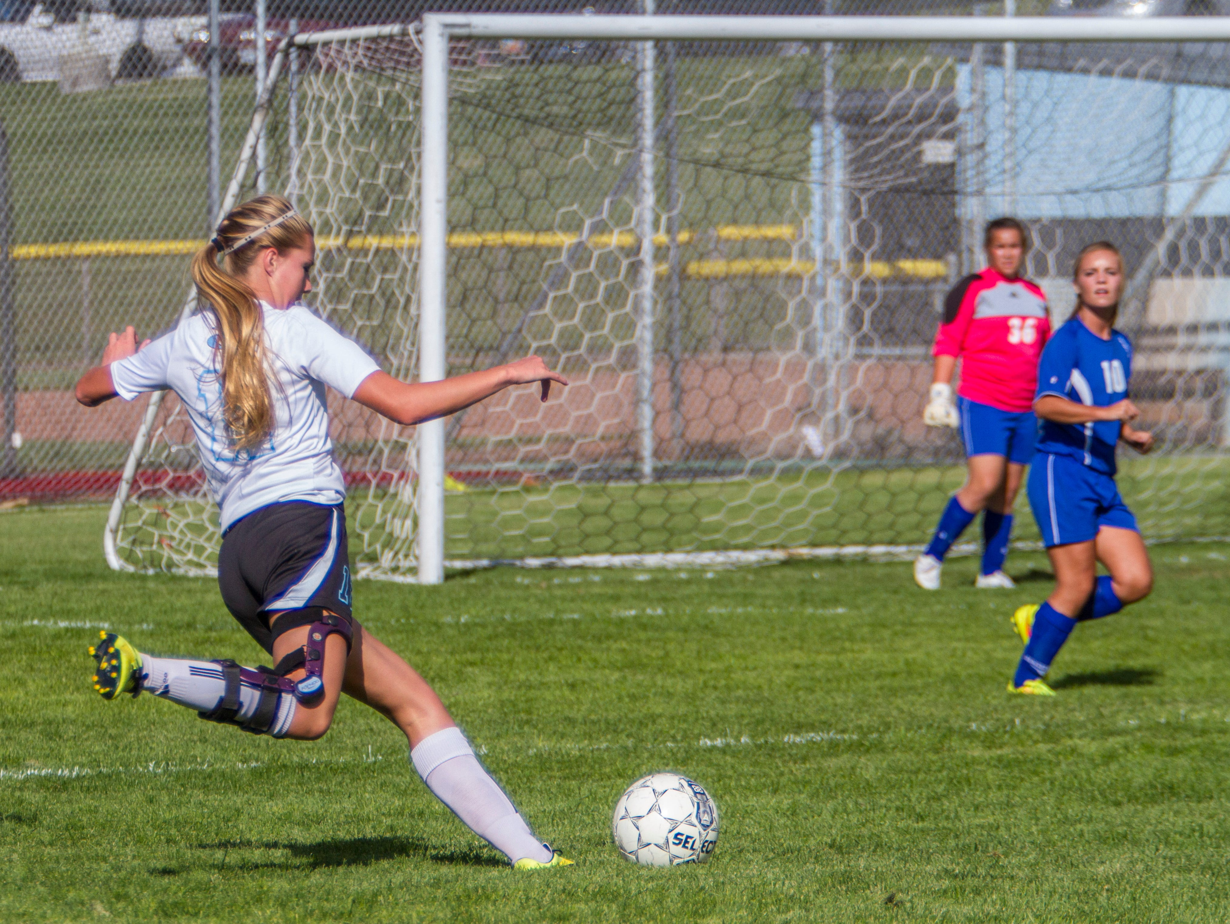 Canyon View's Kailey Cox takes a shot on goal in the game against Carbon, Thursday, Oct. 8, 2015.