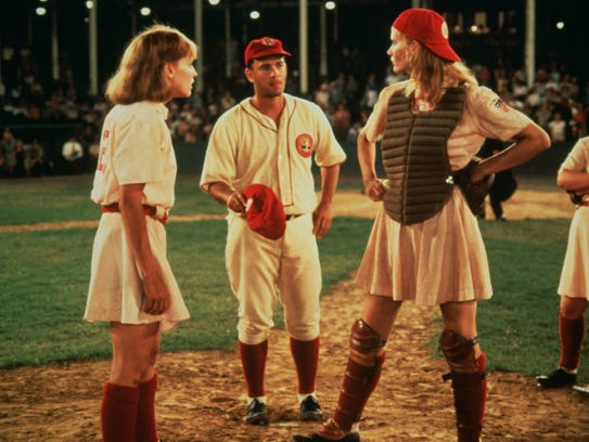 Lori Petty, Tom Hanks and Geena Davis in 'A League