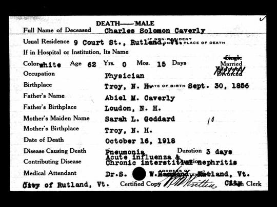 The 1918 death record of Charles S. Caverly, president of the Vermont State Board of Health.