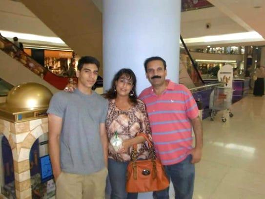 Nader Saadeh and his parents, Nadira Saif and Khaled