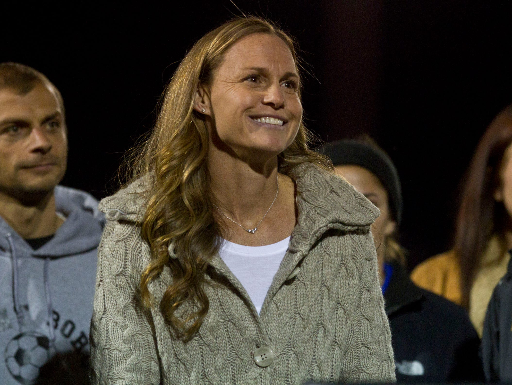 Soccer star Christie Rampone is honored prior to the game. Point Boro takes the field. Raritan vs Point Pleasant Boro NJSIAA Group II playoff game. Point Pleasant, NJ Friday, November 13, 2015 @dhoodhood